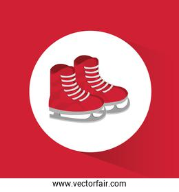 red ice skate winter sport badge icon