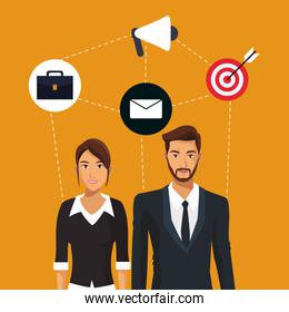 man and woman business employee teamwork icons