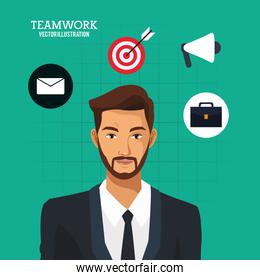 man bearded business teamwork green background
