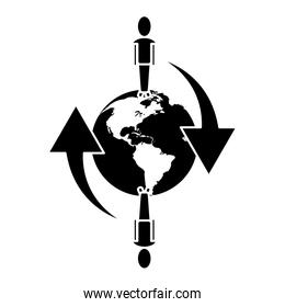 global people connected communication network around pictogram