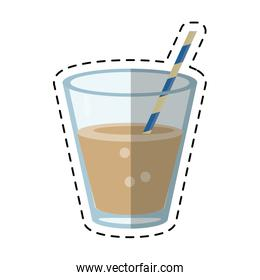glass cup fresh drink with straw - dot line