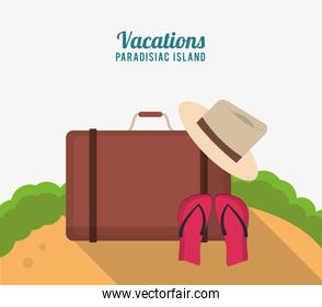 vacations paradisiac island with suitcase hat flip flop sand