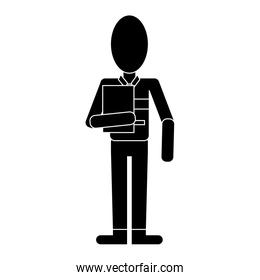man work employee with clipboard pictogram