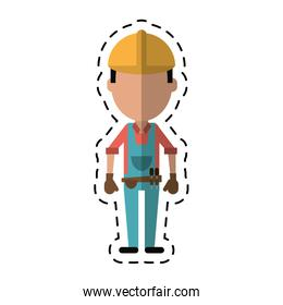 construction man with tool belt gloves-cut line