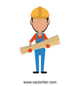 woman building construction wooden boards
