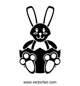 easter bunny with broken egg pictogram