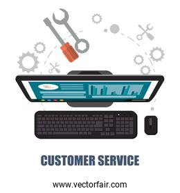 customer service computer support concept