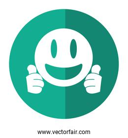 smiling thumbs emoticon style shadow