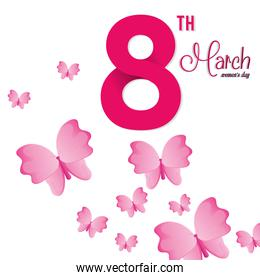 8 march womens day pink butterfly