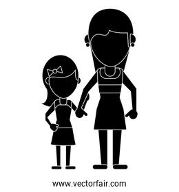 mom with daughter pictogram