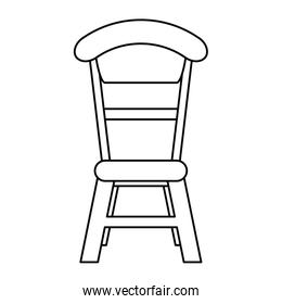 wooden chair vintage thin line