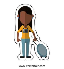 cartoon woman tourist with camera and suitcase