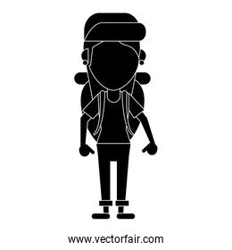 young girl traveler with backpack pictogram