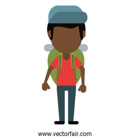 afro american man backpack and cap