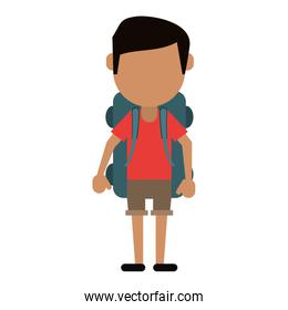 man wearing short with backpack travel