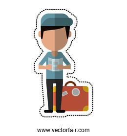 cartoon man with travel bag and map