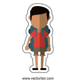 cartoon man wearing short with backpack travel