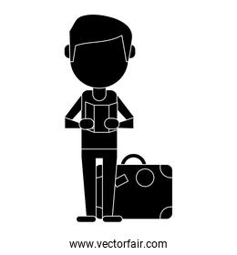 man with travel bag and map pictogram