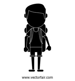 man wearing short with backpack travel pictogram