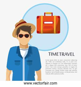 time travel man tourist sunglasses hat suitcase