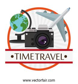 time travel poster vacation camera plane globe