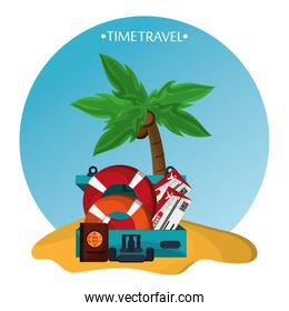 time travel beach sand elements icons