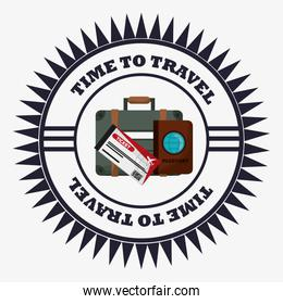 time travel equipment vacation stamp