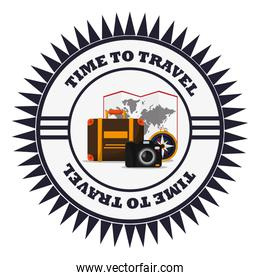 time to travel vacation emblem