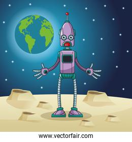 robot space earth moon star