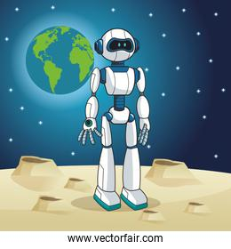 robot android earth space moon