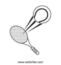 tennis ball racket sport icon thin line