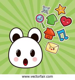 kawaii bear character social media image