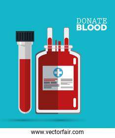 donate blood bag and test tube