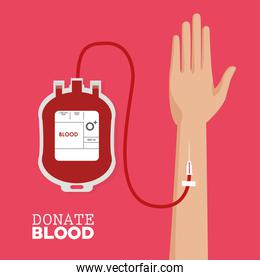 donate blood hand with tube