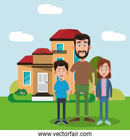 father and brothers standing house