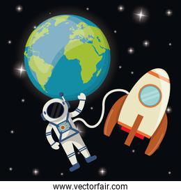 planet earth astronaut rocket space