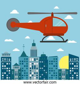 helicopter transport city sun