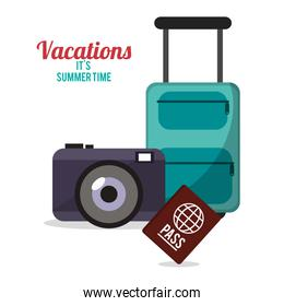 vacations summer time - suitcase camera passport