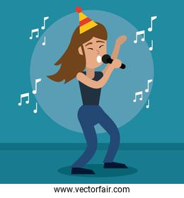 happy woman dancing and singing