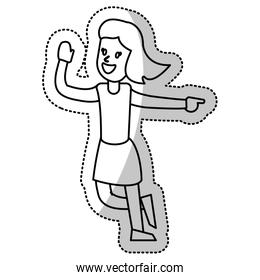 woman celebration dance cheerful outline