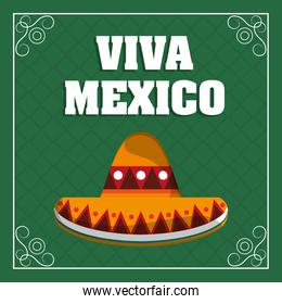 viva mexico - hat traditional green background
