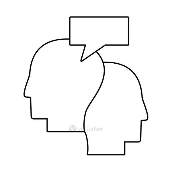 human heads communication talking outline