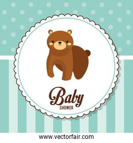 baby shower card invitation with bear