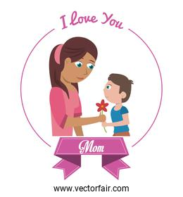 i love you mom card son giving flower