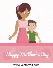 happy mothers day card - woman embrace son