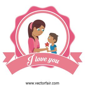 i love you mom card - son gifting flower