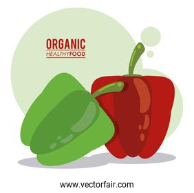 organic healthy food green and red pepper