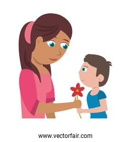 son give flower mother love