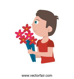 boy with flowers bouquet present