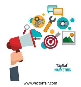 hand holding speaker digital marketing